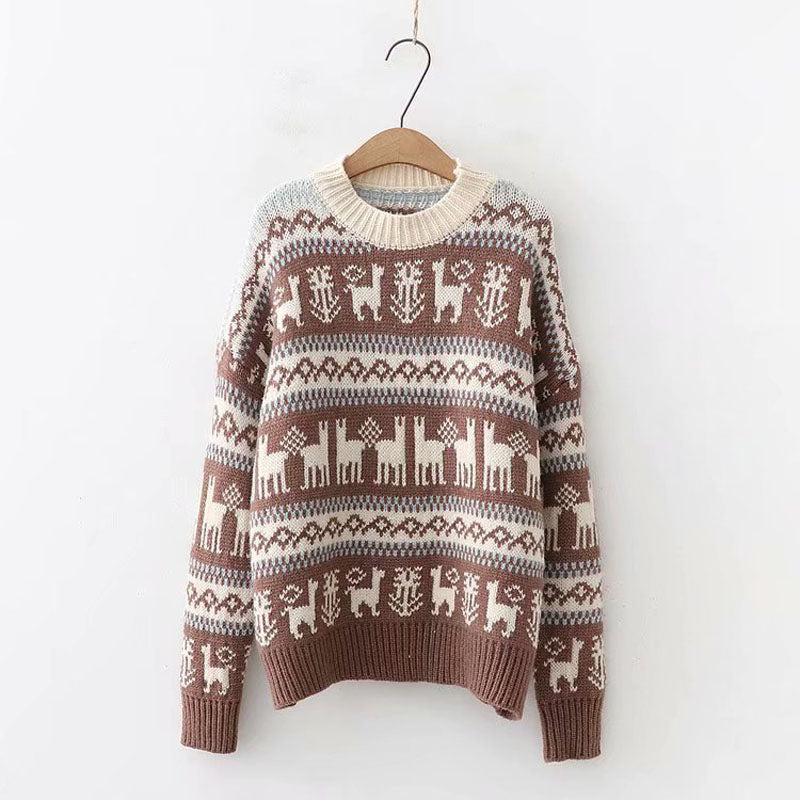 Slouchy Crewneck Knit Christmas Sweater