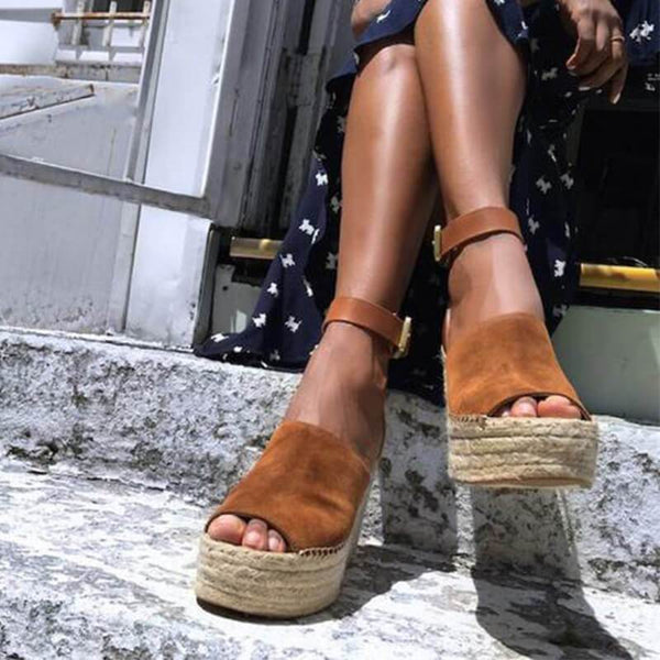 Platform Wedge Espadrille Peep Toe Sandals