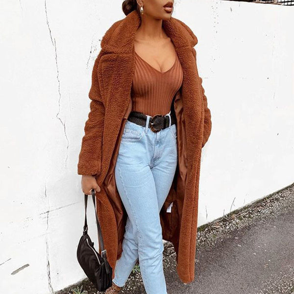 Brown Oversize Thick Teddy Coat