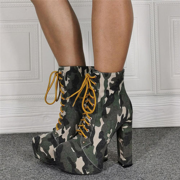 Fashion Camo Platform Strap High Heel Ankle Boots