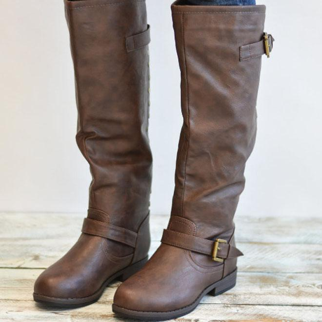 Retro Long Buckled Leather Vintage Boots