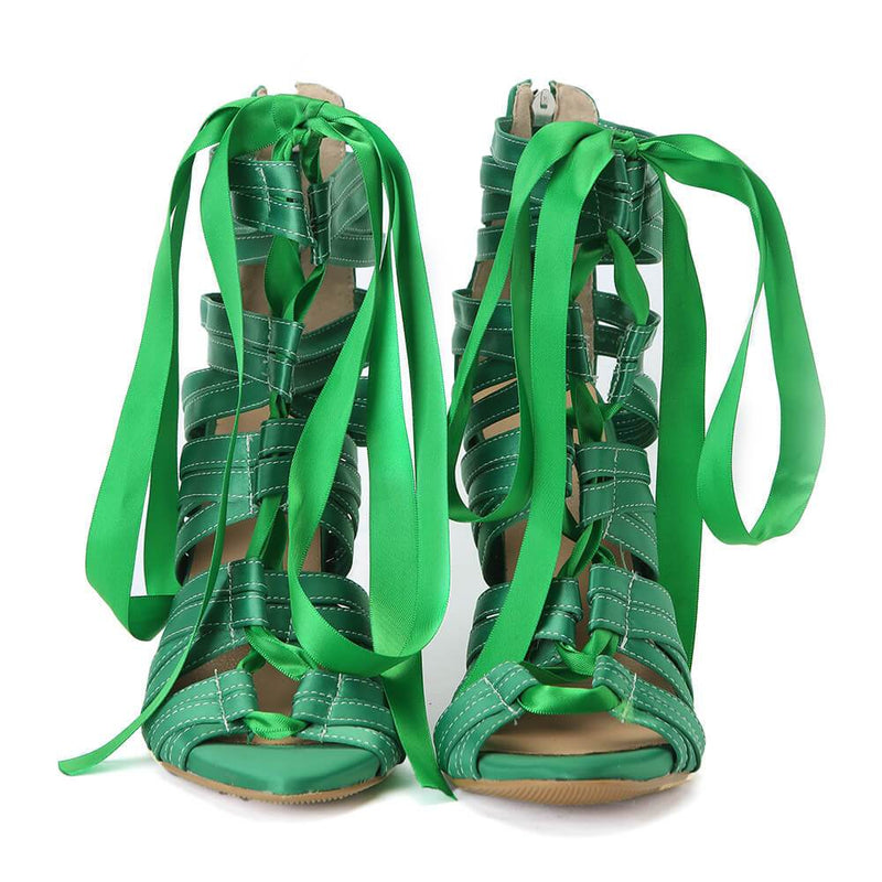 Green Strap Lace Up Cutout Sandals