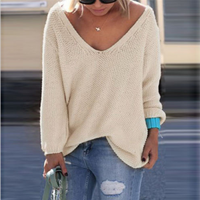 V-neck Loose Knit Pure Color Pullover Sweater - Oh Yours Fashion - 5