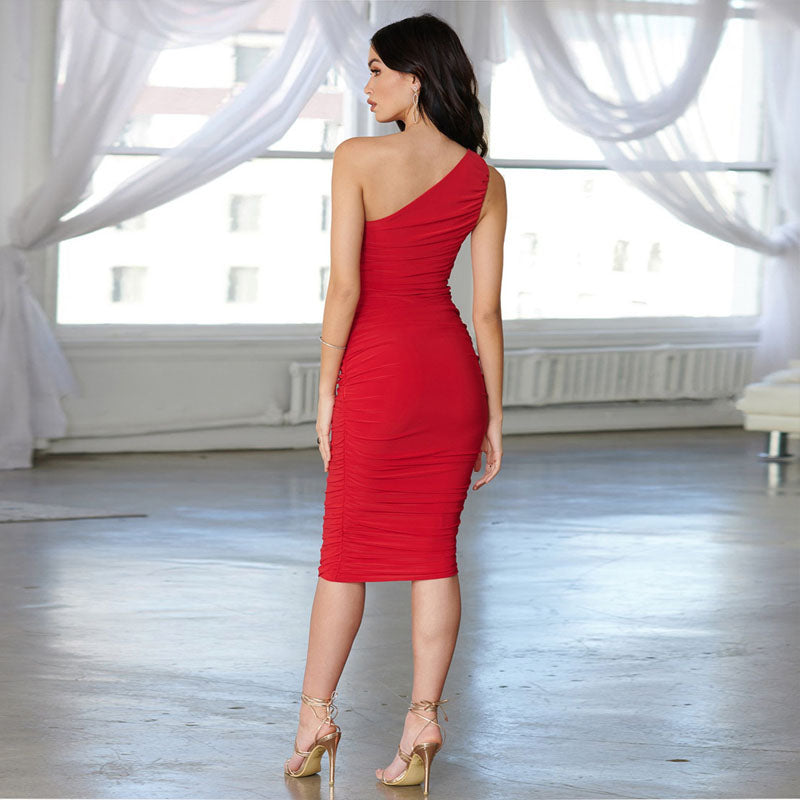 One Shoulder Slash Tight Bandage Dress