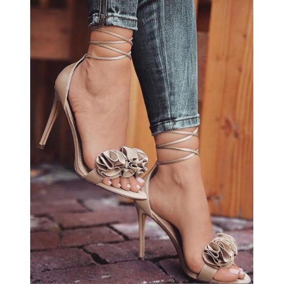 Ruffles Ankle Wrap Open Toe Stiletto High Heel Women Sandals
