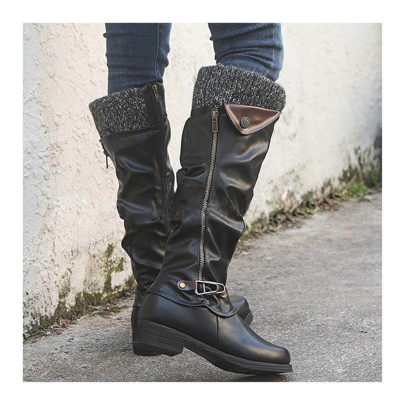 Knee High Leather Low Heel Boots