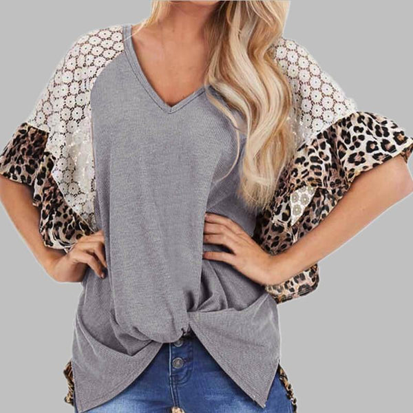 Casual Leopard Lace Patchwork Wide Sleeve T-shirts