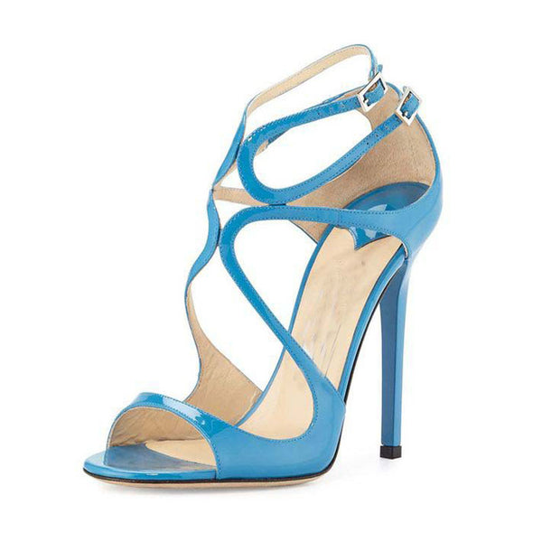 Patent Leather Cutout Buckle High Heel Sandals