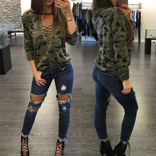 V-neck Camouflage Print Long Sleeves Blouse