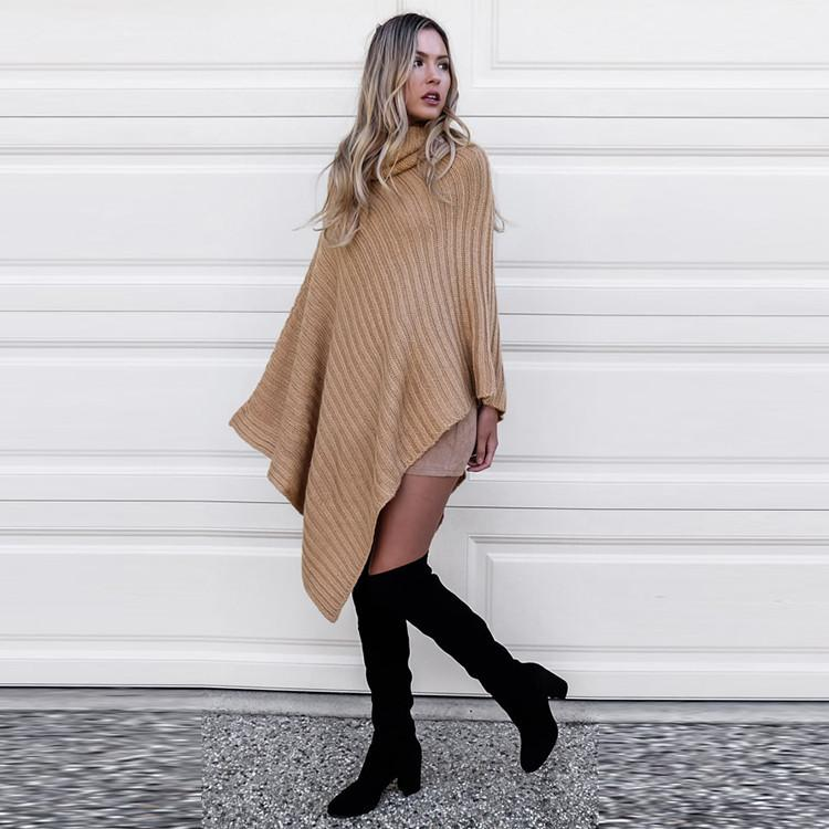 Pure Color Irregular Long Sleeves High Neck Regular Sweater