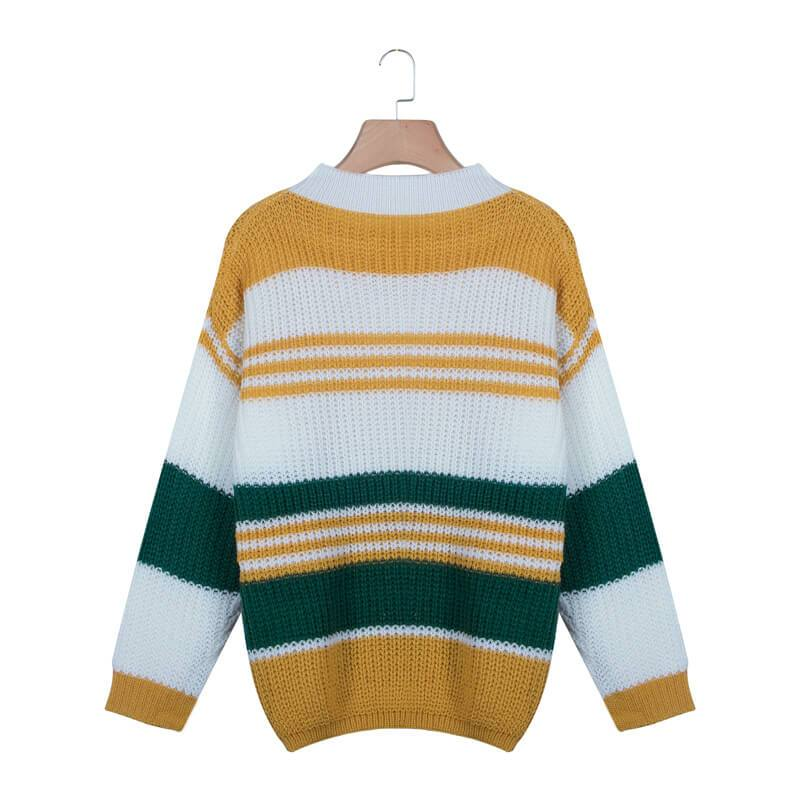 Crewneck Colorblock Striped Sweater