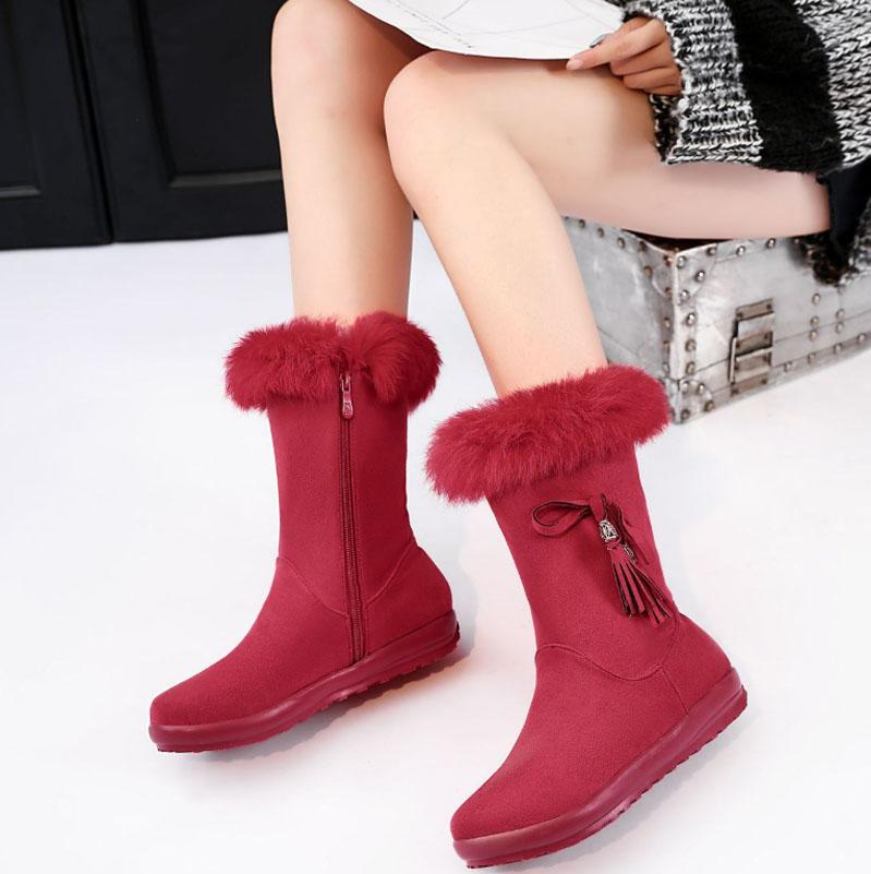 Winter Fur Flat Suede Mid Calf Boots