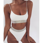 Sequins Patchwork Spaghetti Straps High Waist Two Pieces Swimwear
