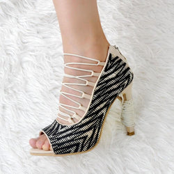Black Peep Toe Cutout Round Toe Sandals
