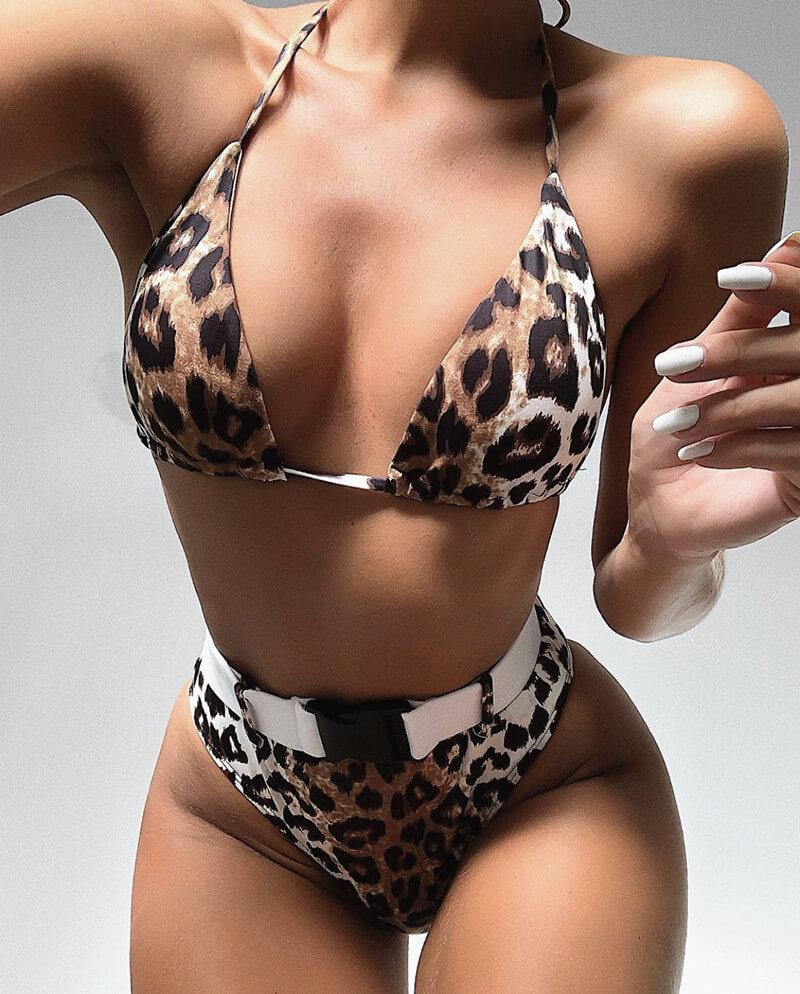 Animal Print Buckle Halter High Rise Thong Bottom Bikinis