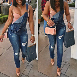 Rough Holes Pocket Long Slim Skinny Rompers Jeans