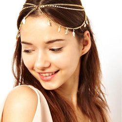 Fashion Crystal Leaf Pendant Multilayer Tassel Hair Accessories