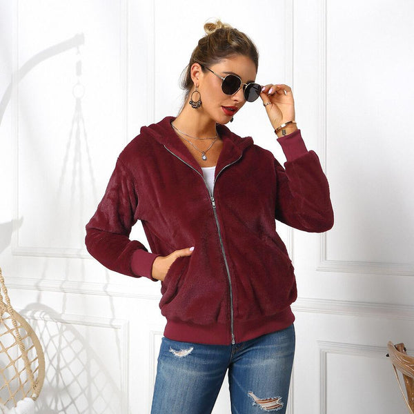 Faux Fur Hooded Zipper Jacket