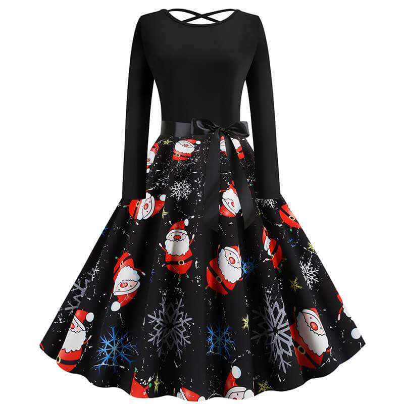 Christmas Print Crossed Back A Line Dress