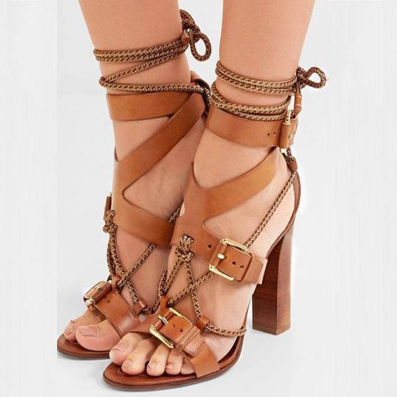 Brown Strap Leather Buckles Chunky Heel Sandals