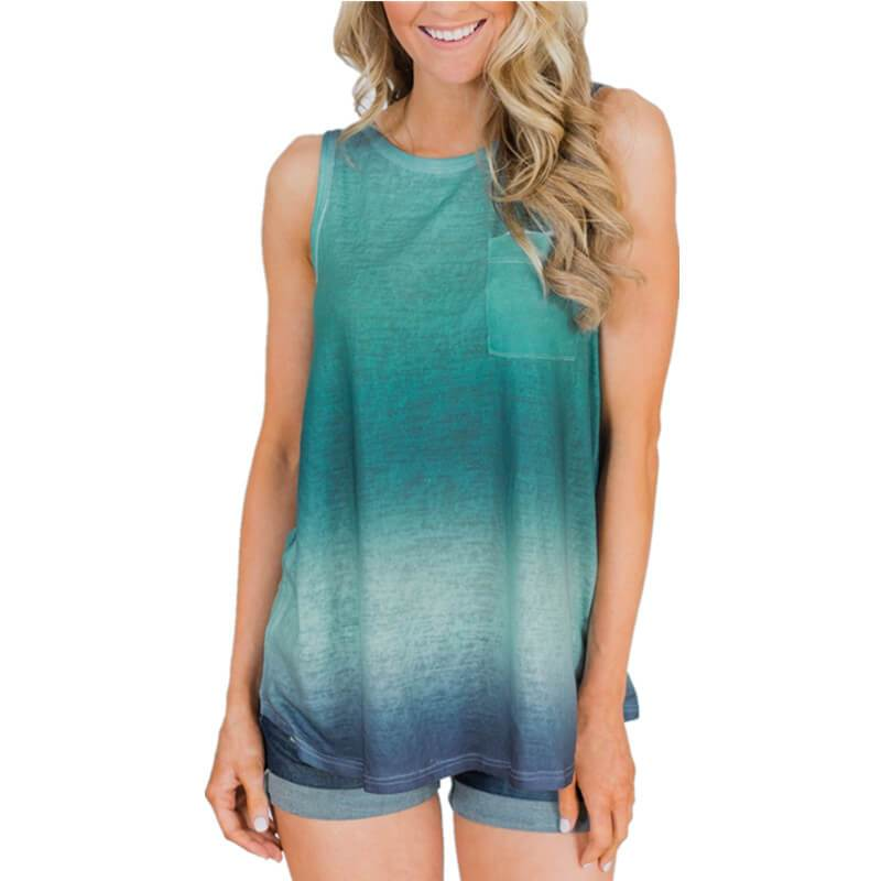 Summer Tie Dye Gradient Sleeveless Loose Tank Top T-shirts
