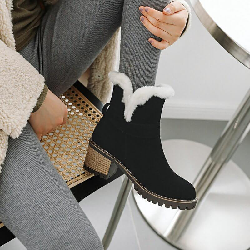 Suede High Chunky Heel Ankle Boots