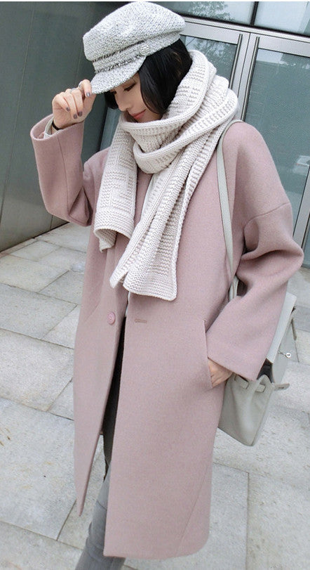 Dropped Shoulder Solid Split Loose Long Coat - May Your Fashion - 1