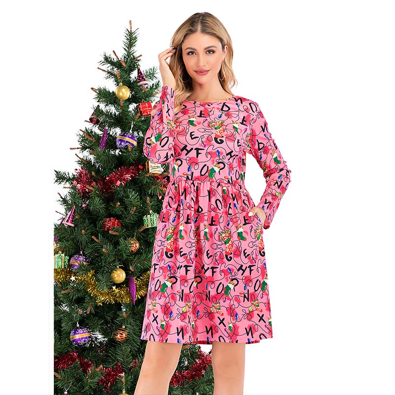 Christmas Print Empire Waist Short Dress