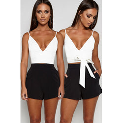 V-neck Deep V-neck Straps Bandage Sleeveless Short Crop Top