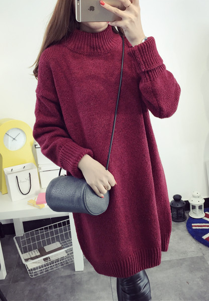 High Knit Student Pullover Upset Long Sweater - May Your Fashion - 1