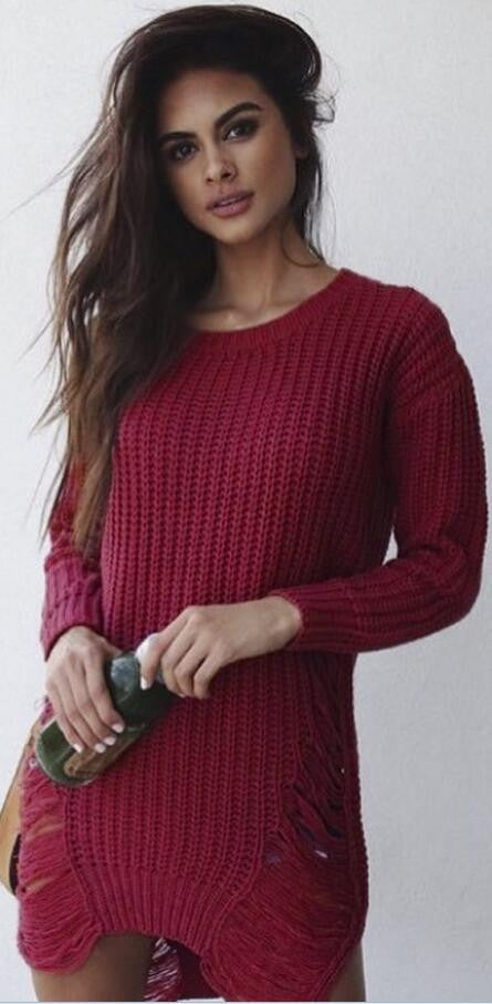 Leisure Hollow-Out Round Neck Sweater
