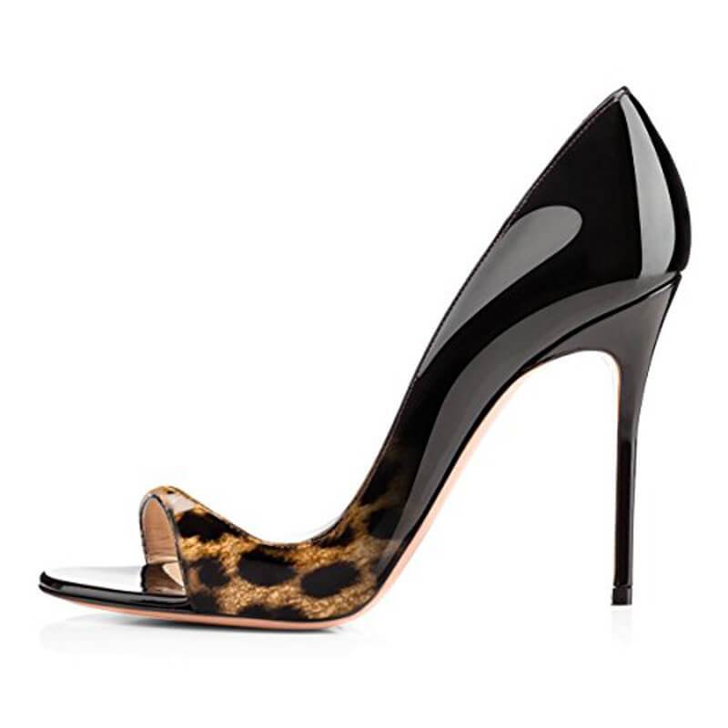 Patent Leather Print Open Toe High Heel Sandals