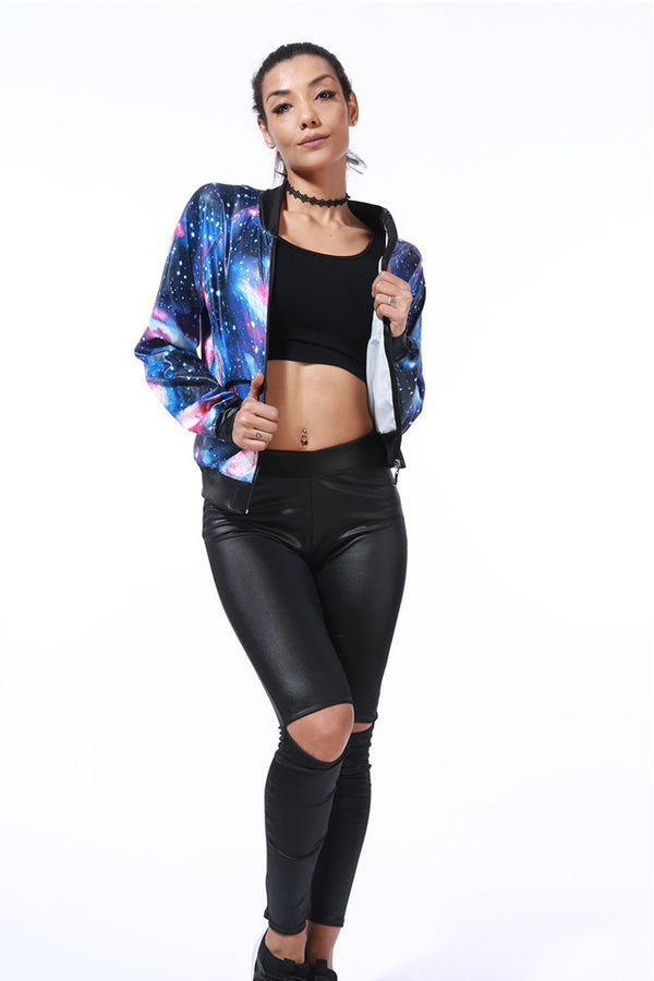 Long Sleeves Galaxy Print Round Collar Baseball Slim Jacket