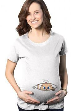 Scoop Naughty Print Loose Pregnant Regular T-shirt