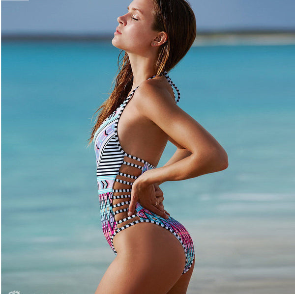 Stripe Halter Backless Hollow Out One Piece Monokini Swimsuit
