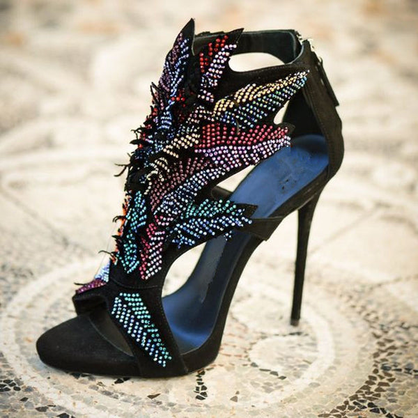 Fashion Black Suede Rhinestone High Heel Sandals