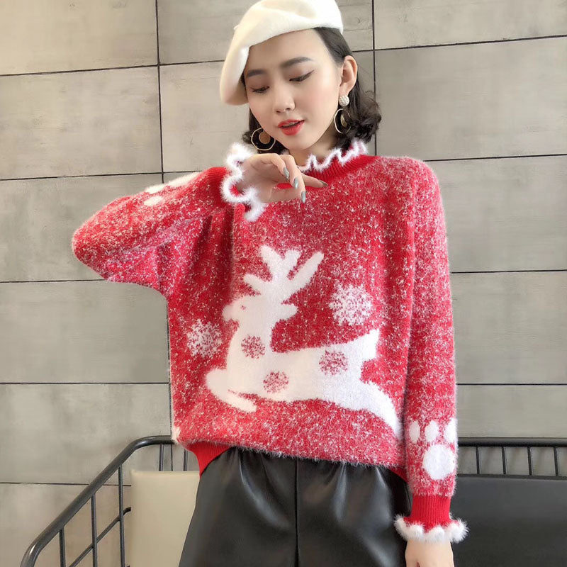 Fluffy Ruffle Reindeer Christmas Sweater