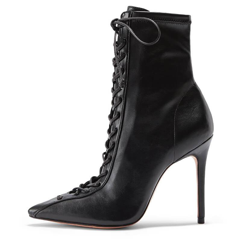 Party PU Point Toe Strap High Heel Ankle Boots