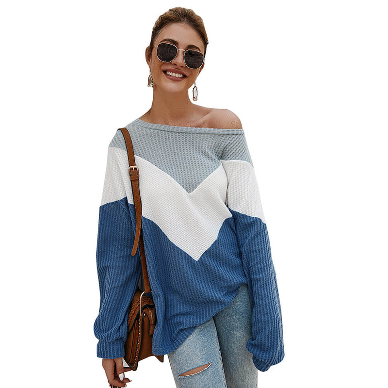 Loose Crewneck Colorblock Knit Sweater