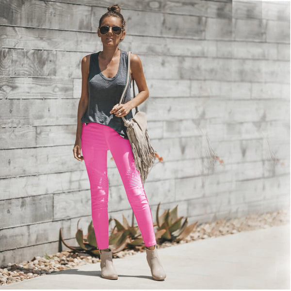Sexy High Waist Stretch Bright Color Skinny Pants