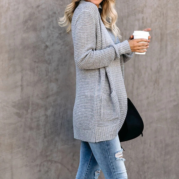 Open Front Grey Crochet Sweater Cardigan