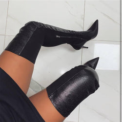 Black Pointed Toe Leather Over Knee Boots