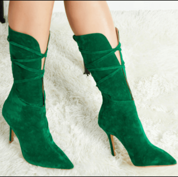 Sexy Suede Green Point Toe High Heel Calf Boots