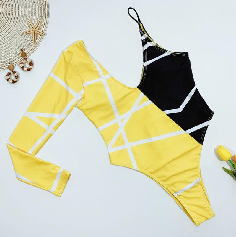 Yellow One Shoulder Print Backless High Cut Swimsuits