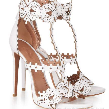 White Wheel High Heel Cutout Sandals