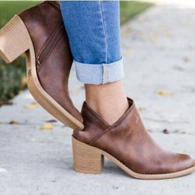 Middle Chunky Heels Ankle Boots