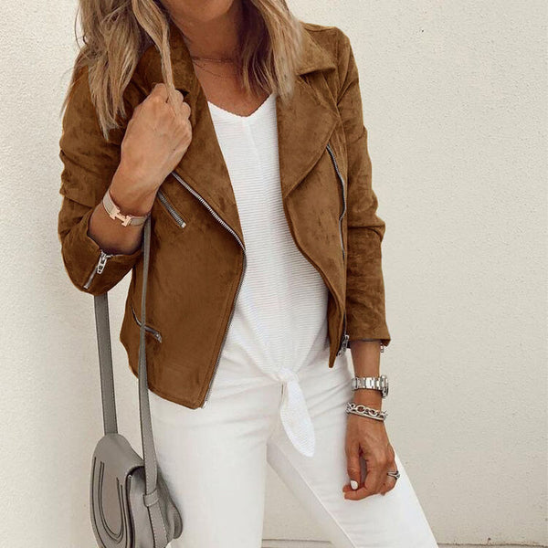 Lapel Zipper Suedette Jacket