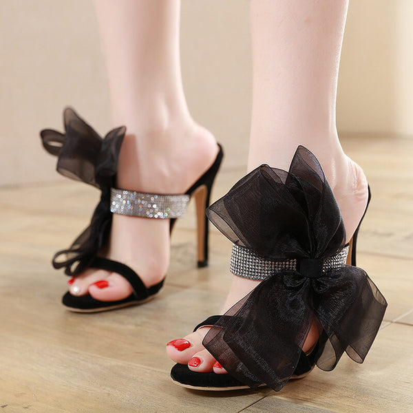 Black Rhinestone Bow High Heel Sandals