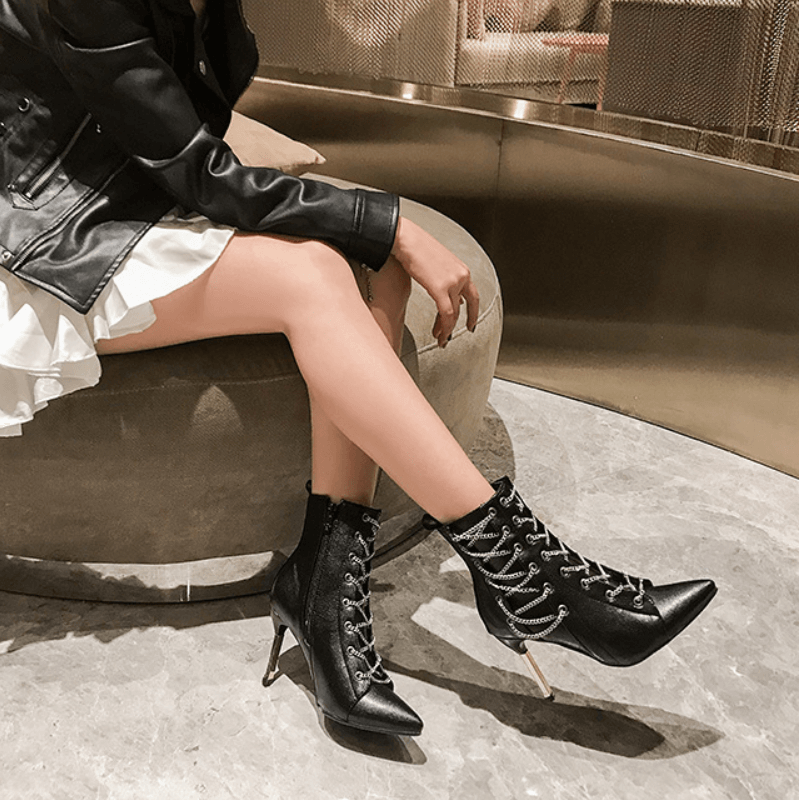Casual Leather Strap Pointed Toe High Heel Boots
