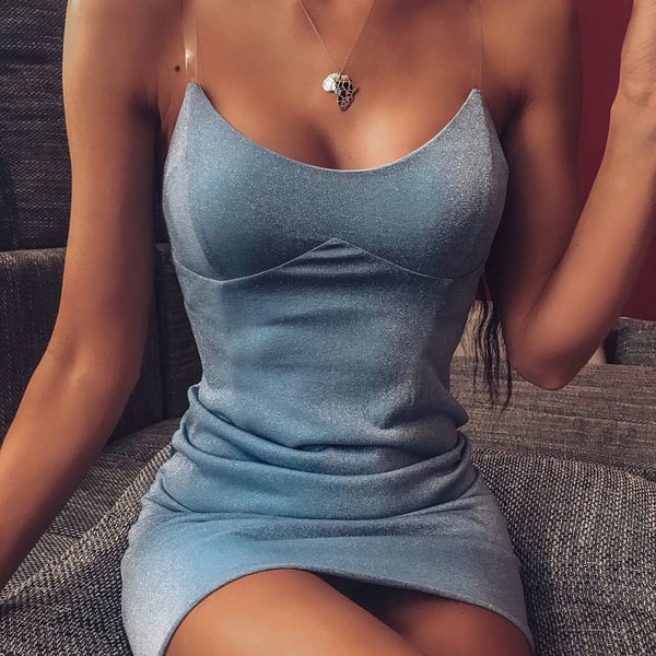 Blue Spaghetti Strap Backless Bodycon Mini Dress